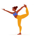 cartoon girl practicing yoga exercise lord of vector image