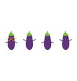 cartoon style eggplant aubergine characters vector image