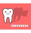 Cartoon tooth with superhero shadow vector image