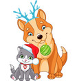 christmas dog with cat vector image vector image