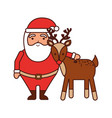 christmas happy santa claus and reindeer vector image vector image