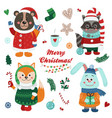 christmas set with isolated cute forest vector image