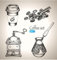 Coffee set beans mill maker and cup vector image vector image
