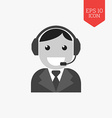 Customer support service icon Flat design gray vector image vector image