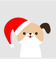 cute dog face in red santa hat merry christmas vector image vector image
