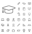 education outline thin flat digital icon set vector image