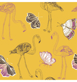 flamingos and butterflies vector image vector image