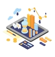 Flat 3d isometric business finance analytics vector image