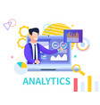 flat banner analytics on white background vector image vector image
