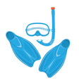 flippers with diving snorkel and mask vector image vector image