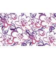 floral hand drawn color seamless pattern vector image