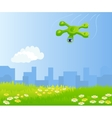 Funny quadrocopter flying over green field vector image vector image