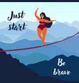 girl on slackline keep your balance motivation vector image vector image
