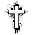 grunge cross emblem vector image vector image
