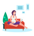 happy pregnant woman reading book girl sitting on vector image