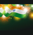 india flag with fireworks background vector image