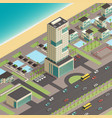 isometric city constructor with luxury hotel vector image vector image