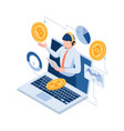 isometric online investment experts explaining vector image
