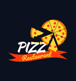 logo pizza design with pizza slice on black vector image vector image