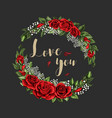 love you postcard wreath with red rose flowers vector image vector image