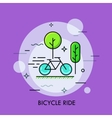 Modern minimal flat thin line bicycle ride concept vector image