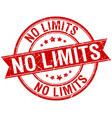 No limits grunge retro red isolated ribbon stamp vector image