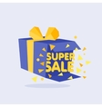 Open Blue Gift Box and Confetti Sale Background vector image