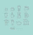 pen line coffee icons turquoise vector image vector image