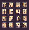 people window silhouettes lighting in night house vector image
