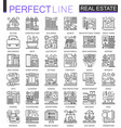 real estate concept symbols perfect thin line vector image vector image