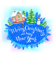 round new year banner merry christmas and happy vector image vector image