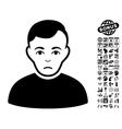 Sad Man Flat Icon With Bonus vector image vector image