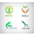 set eco organic green logos eco shop vector image