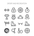 set monochromatic simple sports icons vector image