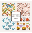 Set of Candy Bows Hearts and Muffins vector image