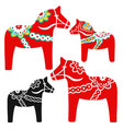 set red dala horses - national symbol vector image