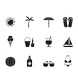 Silhouette Holiday and beach objects vector image vector image