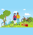 sport recreation people couple ride bicycles and vector image