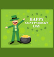 st patricks day card with leprechaun in a suit vector image