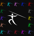 Summer sports Javelin throw icon sign Lots of vector image vector image