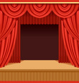 Theater scene with red curtain and dark scenery vector image