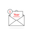 thin line 1 year anniversary logo like open letter vector image vector image