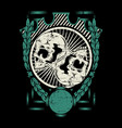 two skull with frame hand drawing vector image