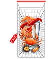 Various seafood in shopping cart vector image
