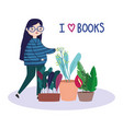 woman potted plant flower love books book day vector image
