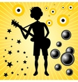 young guy with bass guitar vector image vector image