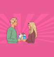 young man give gift box to woman holiday present vector image