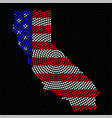 abstract map california radial dots with flag vector image