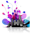 abstract sky with cityscape and bridge on the vector image vector image