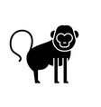 baboon black icon sign on isolated vector image